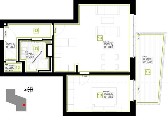 Grundriss Wohnung 13 (zum Vergrößern anklicken)