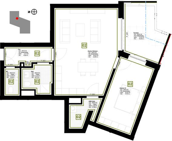 Grundriss Wohnung 2 (zum Vergrößern anklicken)