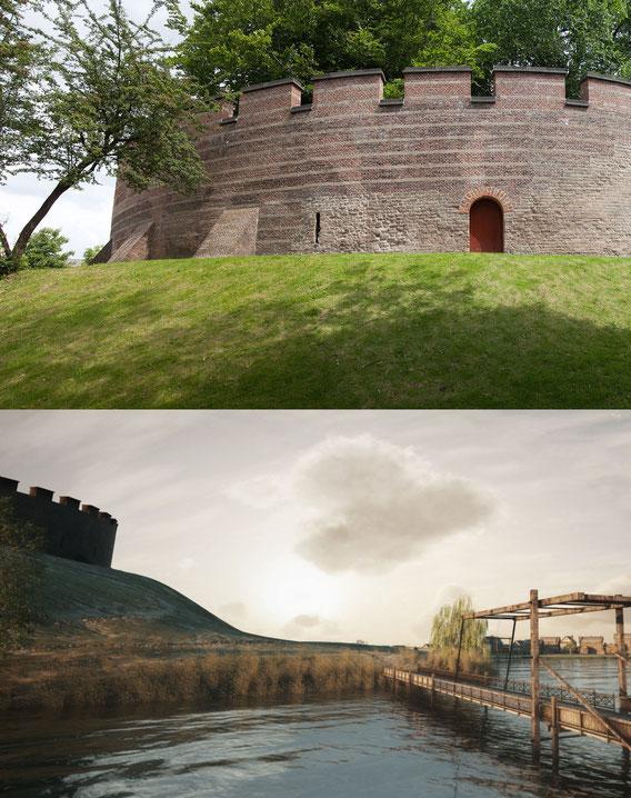 De burcht zoals deze huidig is en de reconstructie van Archeo3D rond 1100 (wikimedia commons).