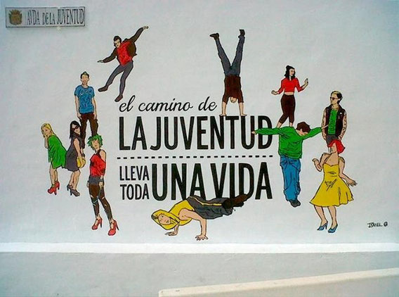 Mural en Bollullos par del Cdo para la inauguración de la Avenida de la juventud.