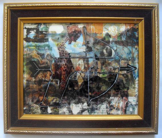 Techniques mixtes & transferts d'images sur verre, 37X32cm, 2014