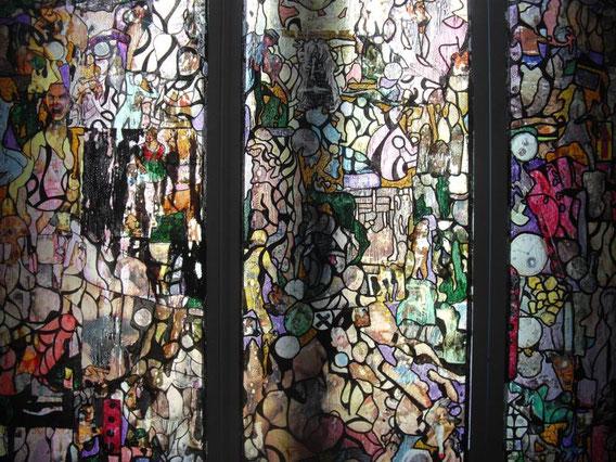 Triptique, collages & techniques mixtes, triptyque sur plexiglas, 140X135 cm, 2013.