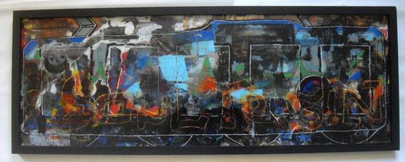 Techniques mixtes & transferts d'images sur verre,92X35cm, 2014