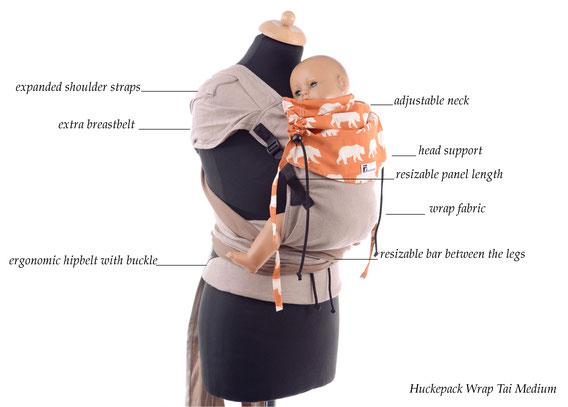 Huckepack Wrap Tai, wrap conversion, adjustable babycarriers, ergonomic hipbelt, expanded shoulder straps
