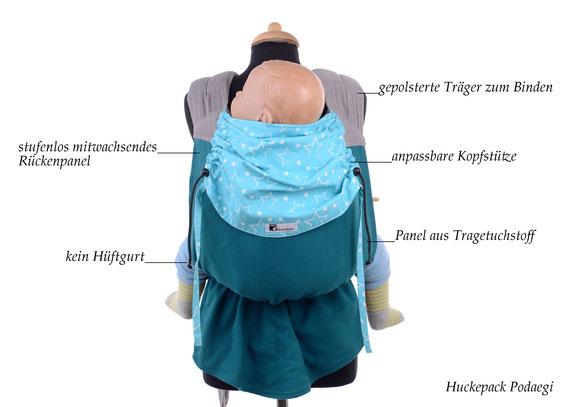 Podaegi Babytrage ab Geburt von Huckepack, stufenlos mitwachsendes Rückenpanel aus Tragetuch, Bauchtrage und Rückentrage.