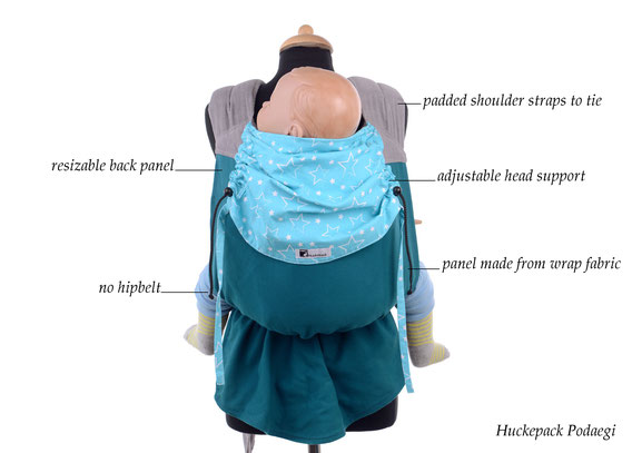 Podaegi babycarrier for newborns and toddlers, soft structured carrier made from wrap fabric.