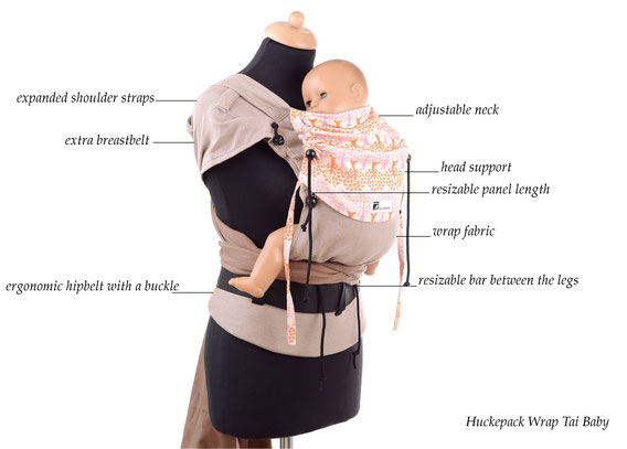 Huckepack Wrap Tai, wrap conversion, adjustable panel, ergonomic hipbelt with buckle, expanded shoulder straps, fits from birth on.