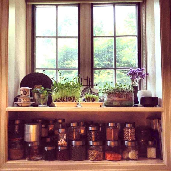 出窓の下のスペースを見せる乾物収納にしている例