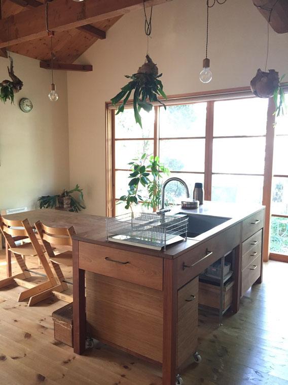 家具のようなキッチン オーダーキッチン 造作キッチン キッチンリフォーム 山桜キッチン