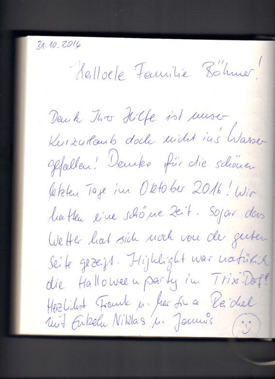 Danke liebe Familie Reichel für Ihre netten Zeilen.