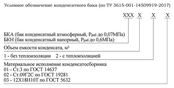 Условное обозначение конденсатного бака