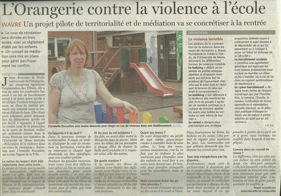 L'orangerie contre la violence à l'école. Article: Le Soir