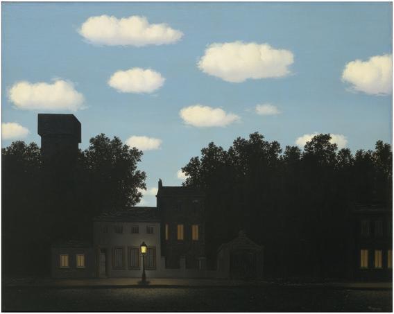 ※1:ルネ・マグリット《光の帝国Ⅱ》(1950年)。デペイズマン系の代表的な作家はルネ・マグリット。写実系シュルレアリスムの多くはポップカルチャーへ受け継がれた。