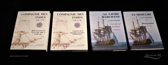 """Etude et monographie sur la marine marchande  """"La Compagnie Des Indes, Le Boullongne"""" & """"Le Navire Marchand, Le Mercure"""" de Jean BOUDRIOT."""