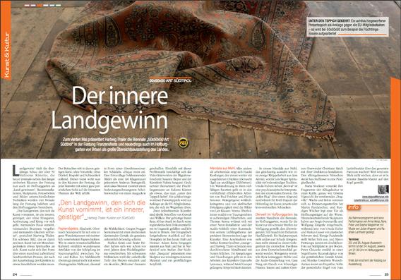 """Zeitungsartikel """"Brixner"""" Juli 2017 Foto der Installation """"Schau weg"""" von Cindy Leitner"""