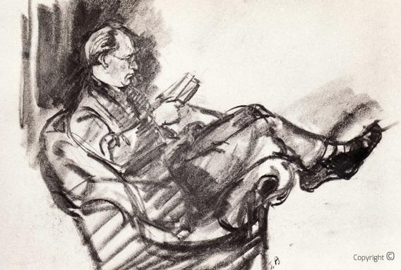 Erwin Bowien (1899-1972): Hanns Heinen beim Verfassen von Gedichten im Salon des Schwarzen Hauses