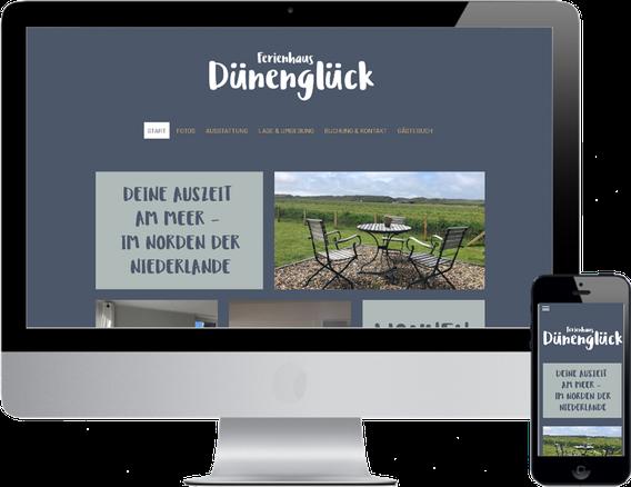 Website Ferienhaus Dünenglück