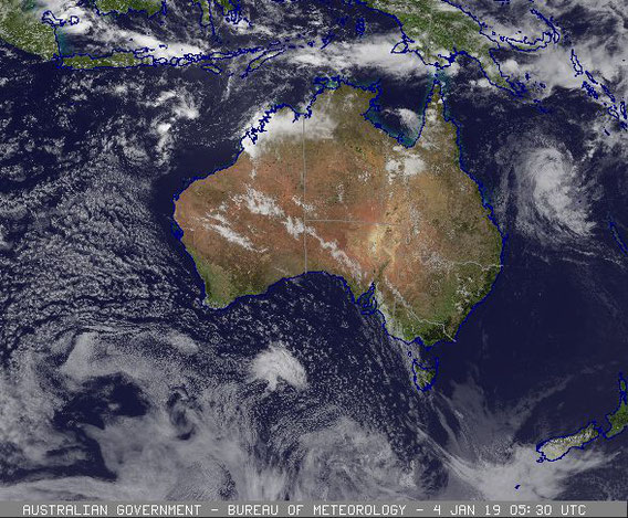 Satellite image of Tropical Cyclone Penny in the Coral Sea. image from www.bom.gov.au