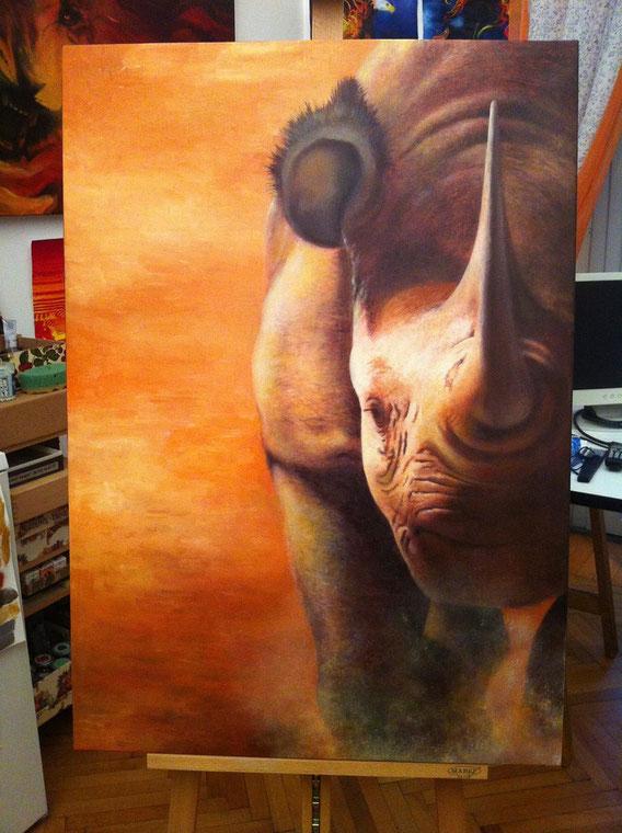 Rinoceronte - Olio su tela - cm.70x100