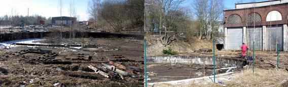 Das Bild links zeigt die entfernten L-Profile von den Stahlplatten. Die bereiteten noch Probleme.