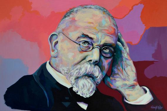 In Acrylfarben gemaltes Porträt des Nobelpreisträger Robert Koch.