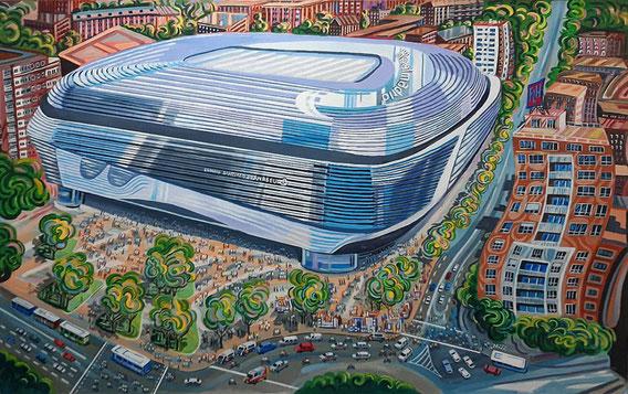 NUEVO SANTIAGO BERNABEU (MADRID). Oleo sobre lienzo. 100 x 160 x 3,5 cm.