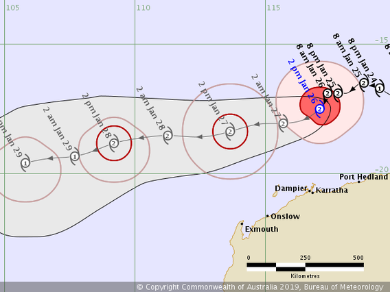 Forecast track map of Tropical Cyclone Riley off the Pilbara coast 24/01/2019. image from www.bom.gov.au