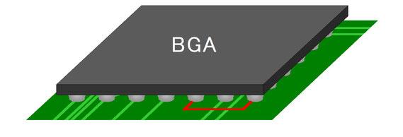 BGA内部ジャンパ配線 BGA実装完了
