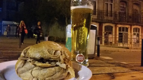 Typical snack Casa Guedes pork beer Porto Portugal