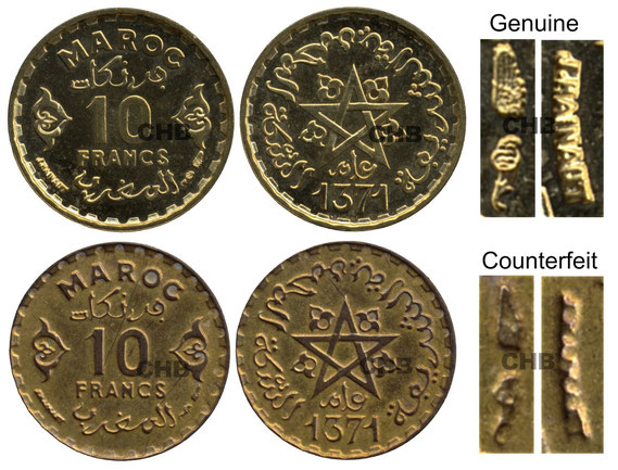 10 Franc genuine and counterfeit