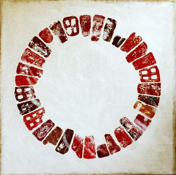 Ziegelkreis Acryl auf Jute 180x180 cm ausgestellt auf der Kulturellen Landpartie im Wendland
