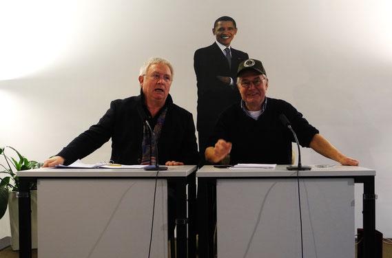 Schauspieler Wolfgang Hartmann und Folkert Bockentien lesen aus FAUST eins und zwei im Amerika Zentrum Hamburg