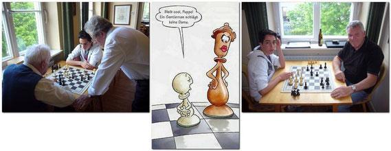 Albert Bayer - Otto Regner - Franz Wildegger vermitteln Emre-Can Erol gerade das notwendige Schachwissen.