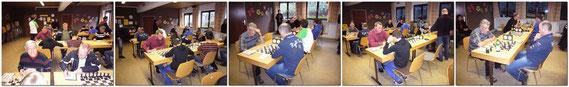 Links, Ludwig Lang an Brett 5 - Georg Nieberle an Brett 6 - Franz Maier an Brett 4 mussten sich geschlagen geben.