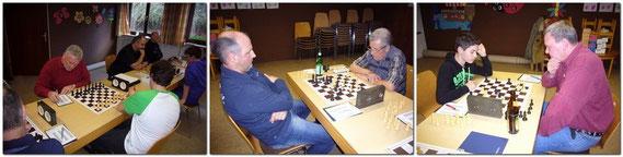 Links, Franz Wildegger an Brett 2 - Otto Regner an Brett 1 - Manfred Panzer an Brett 3 konnten ihre Spiele gewinnen.