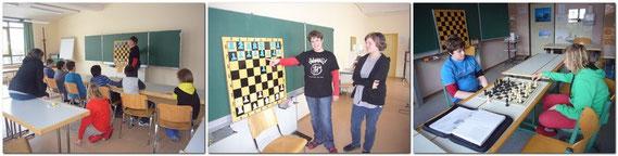 Sowohl Unterricht am Magnet-Demo-Brett, als auch am richtigen Schachbrett, es wurde den Schülern  angeboten.