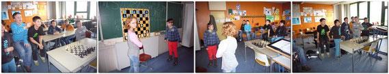 Mit voller Begeisterung waren die 10 Schüler dabei als es darum ging, der anderen Klasse  am Demo-Magnet-Schach-Brett ihre Grenzen aufzuzeigen.
