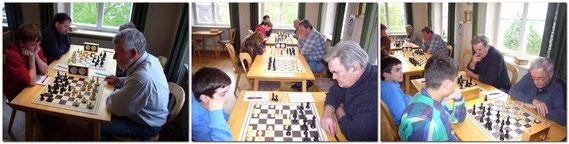 Die Gäste aus Buchloe traten nur mit 5 Spielern an. Michael Mayer (nicht auf dem Bild) an Brett 4 gewann kampflos.
