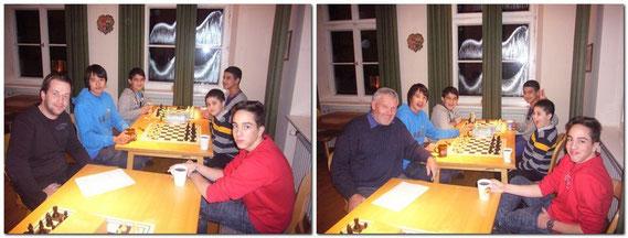 Die Jugendlichen stärkten sich mit Kinderpunsch, Stollen + Lebkuchen. Jeder bekam 1 Nikolaus, der Sieger 2 Stück.