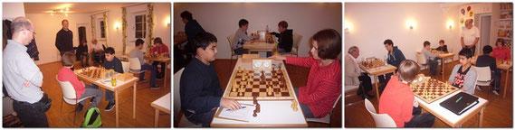 Wolfgang Kolb, Peter Koppmann und Wolfgang Friedrich hinten, schauen dem Spiel von Ibrahim gegen Stefanie zu.