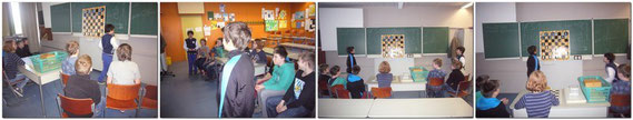 Die Kinder hatten sehr viel Spass und Freude in 2 Gruppen mit der Schachuhr 15 Minuten gegeneinander zu spielen, um zu sehen welche Klasse die Stärkere ist.