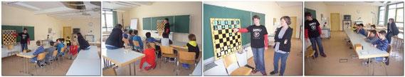 Nach dem auffrischen von Zug-Varianten am Magnet-Demo-Brett, versuchte die Gruppe nach gemeinsamen Zugvorschlägen richtig Schach zu spielen.
