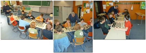 Mit wechselnden Farben aber ohne Schachuhr, wurde diesmal an normalen Schachbrettern gegen einander gespielt, was die Schüler auch mit Begeisterung taten und ihren Spass daran hatten.