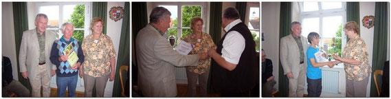 Die 3. Bürgermeisterin Frau Waltraut Wellenhofer und der 1. Vorstand, ehren die Stadtmeister von 2010