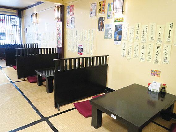 2階は座敷席、3階は個室があるので、グループでの利用にもよい