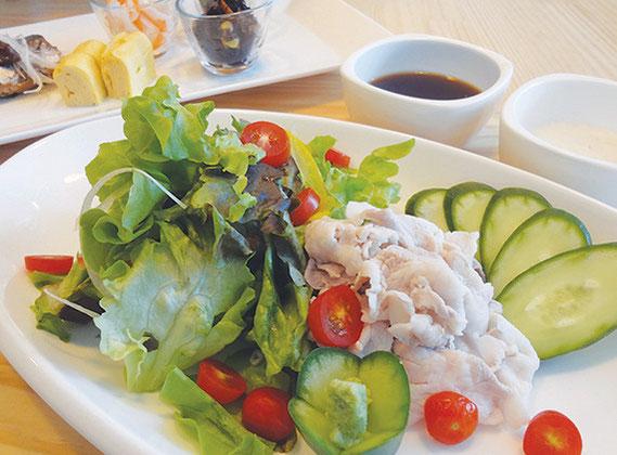 ヘルシーな豚しゃぶサラダ(160バーツ)。魚煮つけ、ロースカツ、炒め物などあり、定食セットもできる