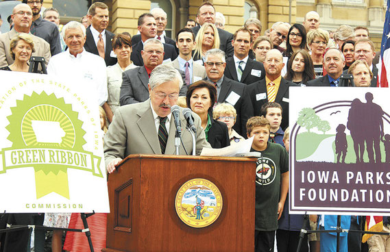 Iowa governor Terry Branstad took to the podium in front of the State Capitol in Des Moines Monday morning to announce nearly $2 million for planning for implementation of a state park revitalization plan, which includes Jackson, Jones & Dubuque counties.