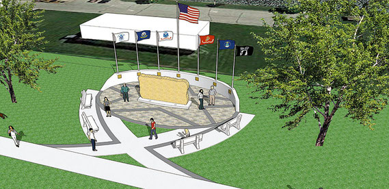 This three-dimensional concept of the new Bellevue Veterans Memorial, which will be located on Riverview, just north of Subway, was recently released to the city by IIW Engineers. Pre-site grading and other work will get underway on the project soon.