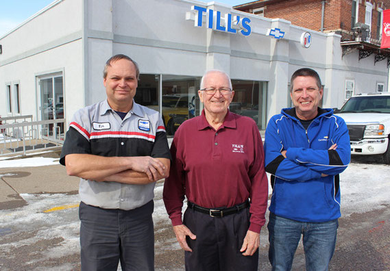 "Tim Till, Ardell ""Bud"" Till and Steve Till, the third and fourth generations of the Till family, are marking 100 years in car and truck business in Bellevue. The dealership was created by Bud's grandfather, J.J. Till."