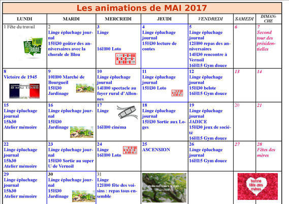 exemple planning animation ehpad